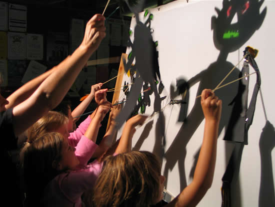 Shadow puppet workshop in progress